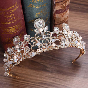 Роскошные невесты волос украшения металла цветка Rhinestone Tiara Коронки Цветочные листьев Noiva Диадема Свадебные аксессуары для волос для женщин BH