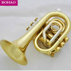 Professional C Key Pocket Trumpet Gold Lacq Cornet Horn Monel Valve New Case