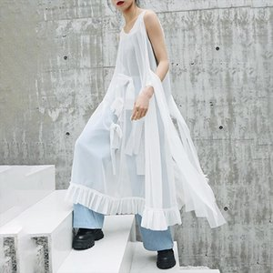 [EAM] 2021 New Spring Summer Round Neck Sleeveless Mesh Ruffles Bow Split Joint Temperament Dress Women Fashion Tide JW807