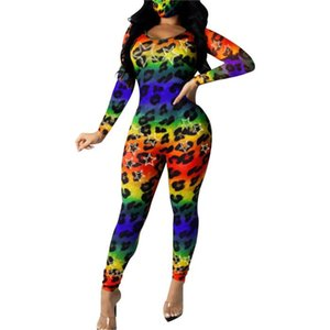 Femmes Leopard coloré Jumpsuit manches longues Slim Fit Crew Neck barboteuses Famale Vêtements Designer