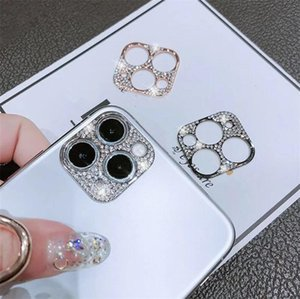 For iPhone 11 pro Camera Lens Protective Cover Gliter Phone For iPhone 11 12 Pro Max Metal Frame Diamond Gliter Protectors