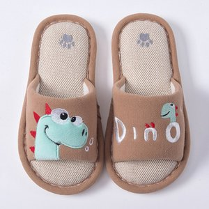 Winter Toddler Girls Cotton Linen Warm Cute Dinosaur Animal Home Shoes Slippers Kids Hotel Zapatillas Nino FRT2