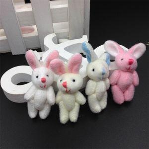 "Bulk 100pcs 4.5cm(1.8"") Plush Mini Rabbit Joint Pendants Stuffed Bunny For Key chain Bouquet Mobile Phone Bag Dolls soft Toys 201222"