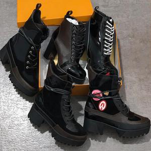 Lüks Tasarımcılar Kadın Patik Bayanlar Ayak Bileği Boot Moda Bayan Sonbahar Kış Yüksek Topuk Kısa Platform Deri En Kaliteli Çizmeler