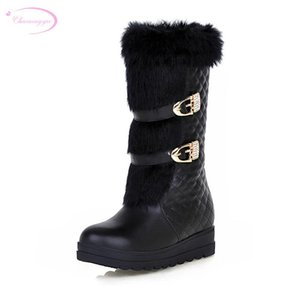 Chainingyee street style warm winter knee high boots fashion platform metal belt buckle med with increasing women's snow boots