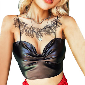 Womens Vest Strapless Off Shoulder Bandeau Bra PU Pleated Strap Vest v neck crop top Sexy Clubwear Fashion Tight Slim Black
