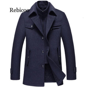 Rebicoo Casual Brand Men Blends Coats Autumn Winter New High Quality Solid Color Men's Male Fashion Wool Coat Tops