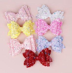 Bambini Hairpin Bowknot Glitter Capelli Clip Capelli Ornamento per bambini Paesaggio Stampato Accessori per bambini Paillette Bow Wrap Edge Clip WMQ380