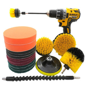 18pcs Home Kitchen Cleaning Tool Drill Brush Set Bathroom Nylon Scrub Pads Carpet Wash Floor Attachment Car Durable Buffing