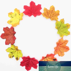 Top Sale Orange Green Yellow 50pcs set Artificial Maple Leaf Garland Silk Autumn Fall Leaves for Wedding Garden Decor