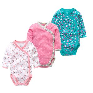Times Lieblings 3PCS / lot 100% Baumwolle Baby Body Baby-Overall Langarm-Baby-Mädchen-Kleidung Neugeborene Baby-Kleidung LJ201023