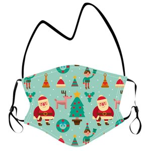 Reusable Kids Christmas Lanyard Mask Children Washable Hanging Neck Masks Protective Face Cover Christmas Party DDC2838