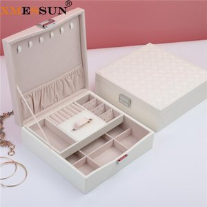XMESSUN New Double Jewelry Storage Box Women Fashion High Quality Leather Tray Earring Watch Cosmetic Lipstick Storage Box INS