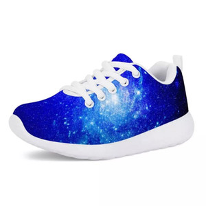 HYCOOL Galaxy Space Starry Sky White Sole Teenager Winter Shoes for Children Fashion School Sport Running Sneakers Classic Flats