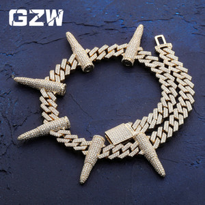 New Mens 18K Gold Punk Stud Bullet Spike Chain Necklace Hip Hop Bling Cubic Zirconia Bing Choker Chains Masculina Bijoux Jewelry for Guys