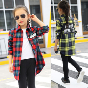 Blouses Baby Girl Autumn Cotton Shirt for Teens Kids Plaid Blouse Big Size 4 6 8 10 12 14 16 Years Girl Clothes Tenages LJ200828