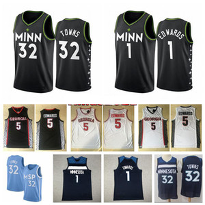 NCAA 2021 Mens 1 Anthony Edwards Swingman Jersey Stitched City Minnesotan Edition 32 # Karl Anthony Towns Basket Ballsall Jersey Shorts con logo