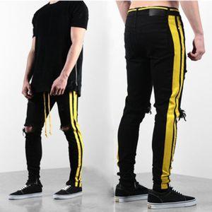 Mens Stylist Jeans Mens Distressed Zipper Skinny Jeans Men Hip Hop Pants Mens Stylist Hole High Qualiy Denim Pants 4 Colors