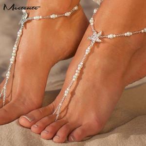 Meetcute Sexy Seestern Fußkettchen Modeschmuck Armband am Bein Sea Star barfüßigsandelholze wulstige Kette Fuß Schmuck