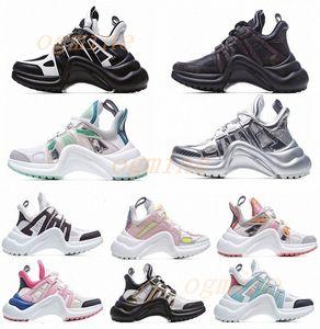 2021 Moda Casual Pai Sapatos Bloco Arquilizado Genuine Leather Sapatilhas Malha Preto Respirável Bow Plataforma Sapato Estilos 35-40