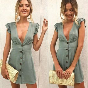 Womens Sexy Holiday Sleeveless Deep V neck Button Ruffles Casual Evening Party Short Mini Dress Tops Drop Shipping