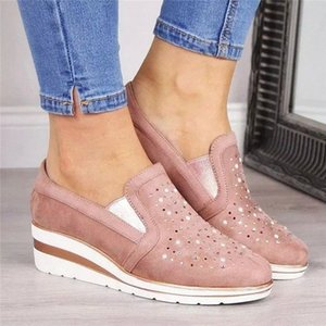 Cow Suede wedges shoes for women 2019 Autumn shoes woman Fashion Bling Slip-On Round Toe casual flat comfortable flats #9L3N