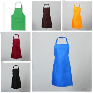 Multi Color Apron Solid Color Big Pocket Family Cook Cooking Home Baking Cleaning Tools Bib Baking Art Apron Have Stock Cfyz171