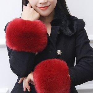 Naiveroo Одна пара Мягкая Fur манжета грелка Пушистый браслет Теплые люкс Перчатки Варежки Аксессуары Мода для украшения вниз пальто