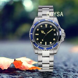 Mode de luxe Night Light Men's Watch 39.5mm Montre en acier inoxydable Machines automatiques Cadre en aluminium bleu stérile