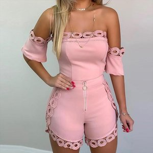 Womens Off Shoulder Tops Hollow Out Lace Shorts Suits Plus Size Short Sleeve Womens Sexy Set 2020 Summer Streetwear Two Pieces