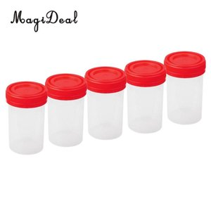 5x 60ml Plastic Graduated Measuring Specimen Cup Sterile Container with Lid Plastic specimen cup for laboratory test