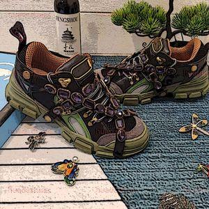Gucci Shoes nouveaux cristaux amovibles baskets femme FlashTrek bottes baskets randonnée en plein air chausse des espadrilles en cuir plateforme luxe avec des chaussures de diamant