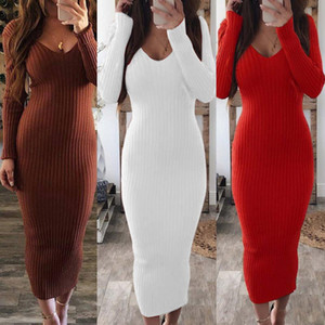 Sexy Women Long Sleeve V Neck Backless Ribbed Bodycon Sliming Knitted Midi Dress Party Dress Vestidos sweater dress