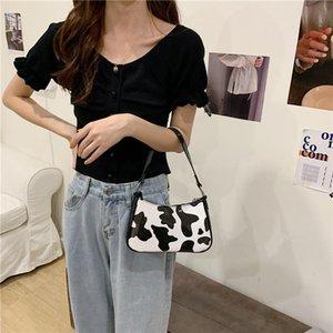 Sacs cosmétiques Cas Vintage Harajuku Pu en cuir Baguette Sac Kawaii Mignon Sweet Cow Motif Spot Sac à main Mini Poche axillaire à sous-arme