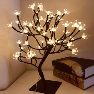 24 36 48 LED USB Cherry Plum Blossom Tree Light Table Lamps Night light for Home Indoor Bedroom Wedding Party Bar Decoration 201017