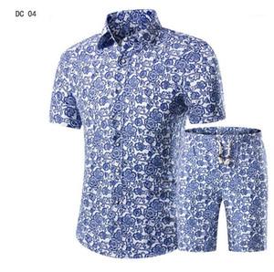 Мужские повседневные рубашки мужские рубашки + шорты набор летнее печать гавайская рубашка Homme короткие костюмы мужского костюма плюс размер 5xL1