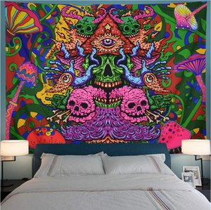 Psychedelic Hippie Tapestry Wall Hanging Bohemian Skull Sun Wall Cloth Tapestry Boho Decor Turtle Trippy Wall Tapestry Carpet