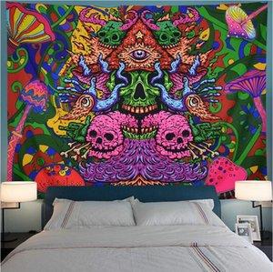 Psychedelic Hippie Tapiz Tapiz de Bohemia cráneo Sun Pared de tela de la tapicería de Boho tortuga decoración Trippy tapicería de la pared de la alfombra
