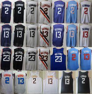 Men Edition 도시 농구 Kawhi Leonard Paul George Jersey Lou Williams 모든 스티치 블랙 해군 블루 화이트 홈 고품질