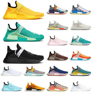 Top Fashion Pw Pharrell Williams NMD Human Race Hombres Mujeres Running Zapatos Triple Amarillo Pale Nude Core Black Trainers Zapatillas Atléticas 36-47
