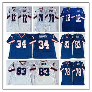 Hombres Vintage Fútbol Thurman 34 Thomas Jim 12 Kelly 78 Bruce Smith 83 Andre Reed Jerseys Retro Stiched Barato Blanco Tamaño S-3XL