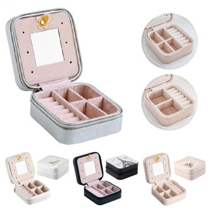 4 Styles Portable Rings Earrings Necklace Organizer Display Case Zipper PU Leather Travel Jewelry Storage Box Jewelry Accessories Holder