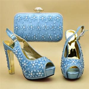 Женская обувь и сумки To Match Set Италия Обувь и сумка для партии высокого качества нигерийских женщин Свадебные сумки Наборы в Heels