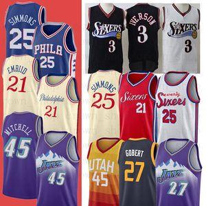 NCAA 21 Joel Ben 25 Embiid Simmons 45 Donovan Utah27Jazz Rudy Gobert Mitchell Filadelfia76erbaloncesto Jersey jerseys