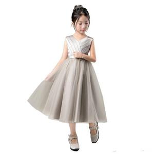 Mignonne marine quinceanera robes tulle une ligne chandelle longue fleur girls robes d'équipage manches manches anniversaire fête petite fille robes