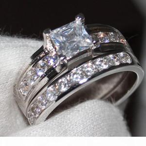 F Us Size 5 6 7 8 9 10 Jewelry 925 Sterling Silver Filled White Topaz Cz Diamond Princess Cut Women Wedding Bridal Ring Set For Love Gi