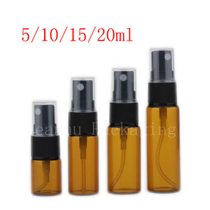 5ml 10ml 15ml 20ml Amber Glass Spray Bottle Sample Mist Sprayer Perfume Container Refillable Atomizer Vial 100pc lot