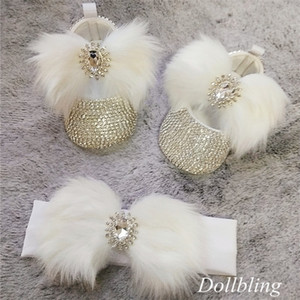 Dollbling Sparkly All star Crystals Baby Girls Ballet Boutique Infant White Fur Hair Diamond Crib Shoes Newborn Headband set 201222