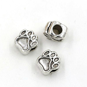 100pcs lots Antique Silver Zinc Alloy Paw Prints Spacers Big Hole Beads For Jewelry Making Bracelet Necklace DIY Accessories
