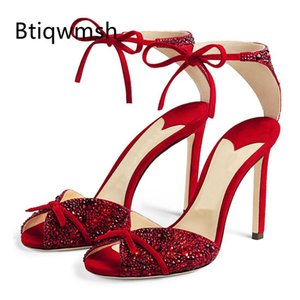 Newest Design Rhinestone Sandals Women Peep Toe Black Suede Butterfly Knot High Heel Shoes Woman Sexy Wedding Shoes